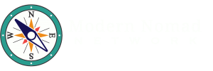 Modern Nomad Network Logo with Compass