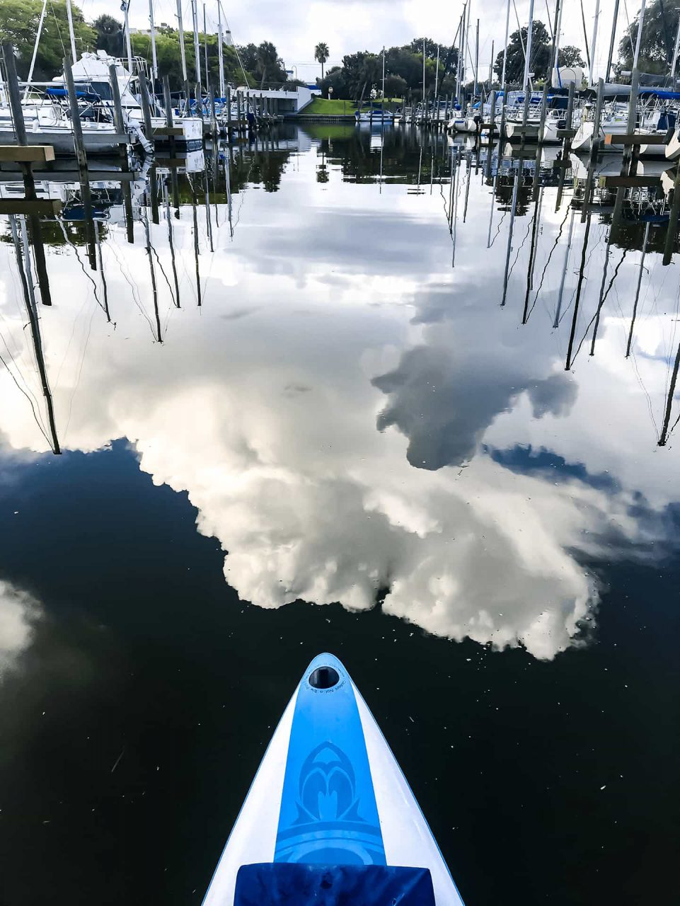 Cloud reflection on water while paddleboarding